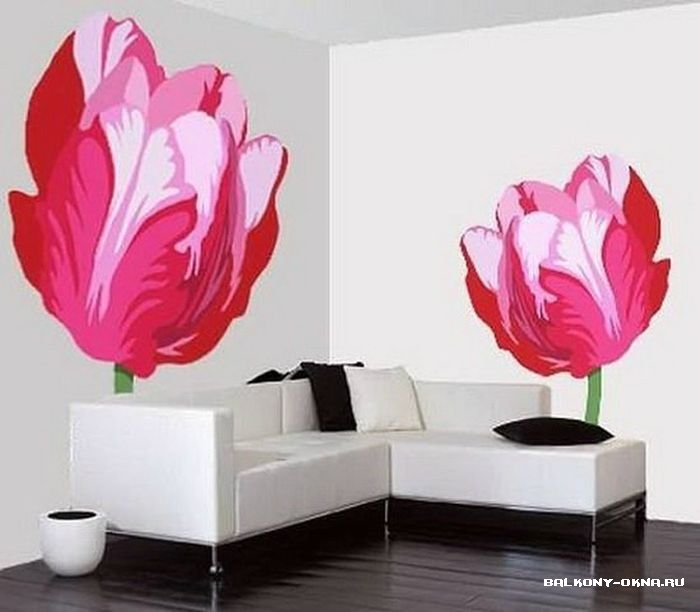 Рисунки цветы на стенах